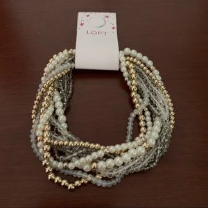 NWT LOFT Multilayered Gold & Pearl Bracelet